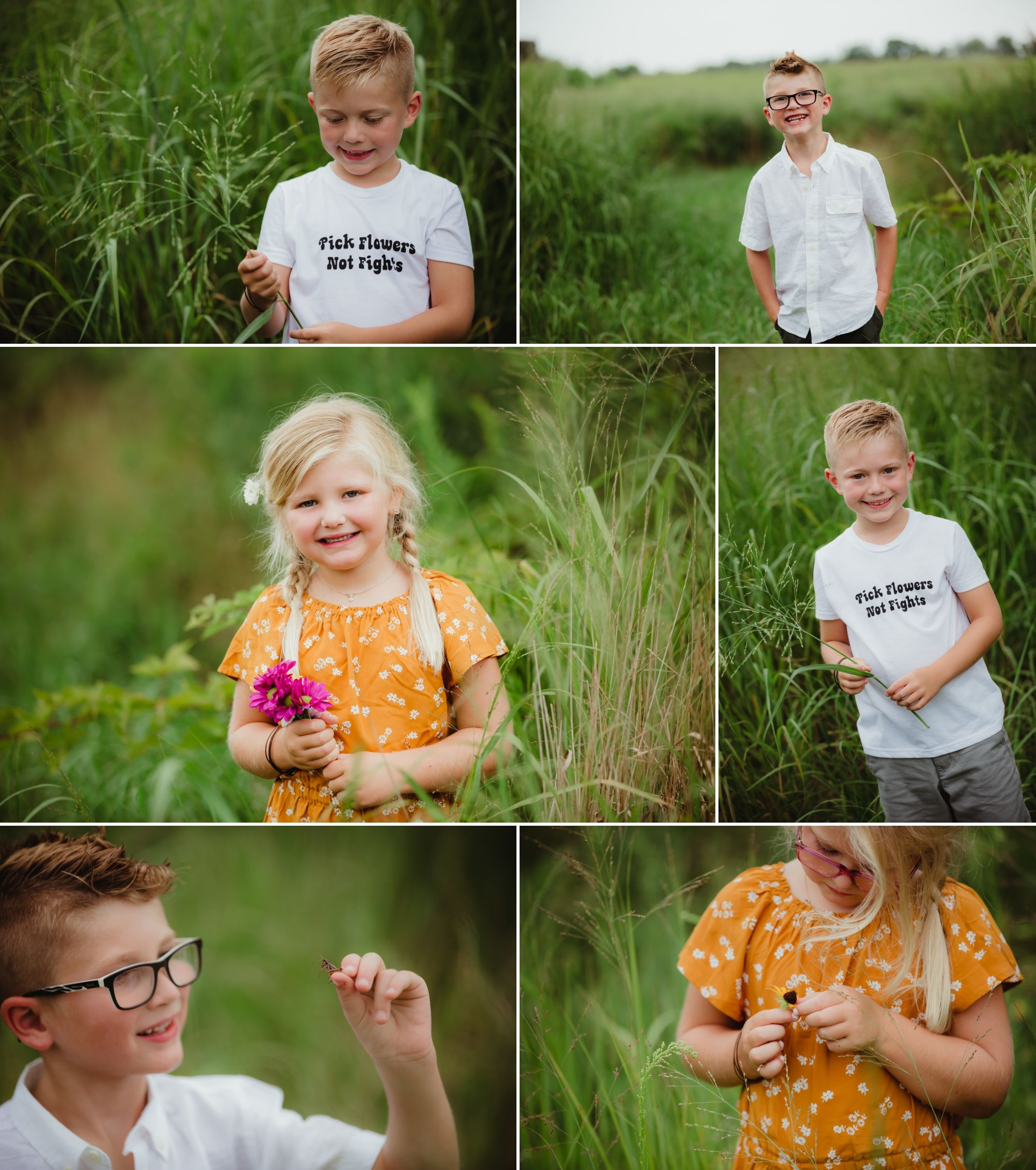 Collage of individual photos of each child. Two boys and one girl. They stand in tall green grass.