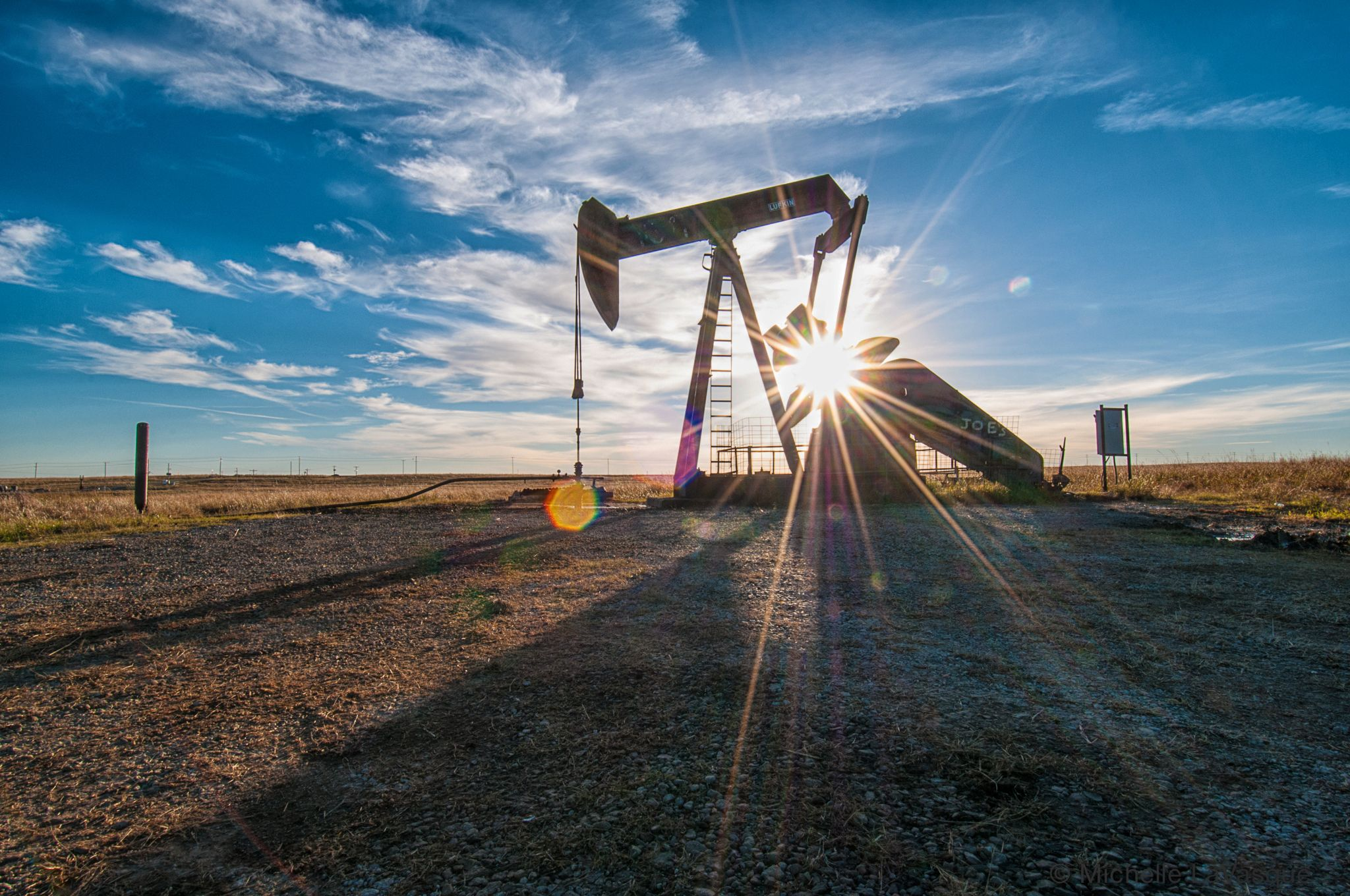 Pumpjack at well site