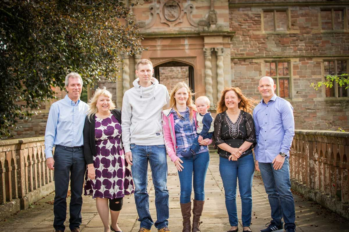family in front of Rufford Abbey Nottingham