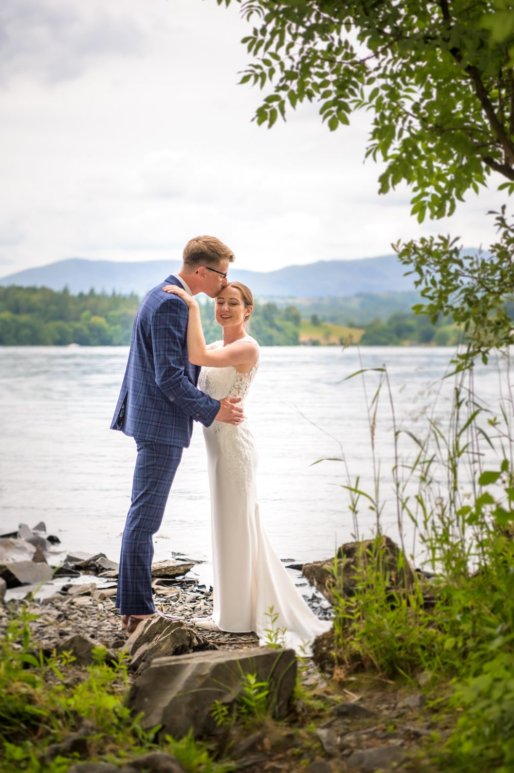 Bride and groom portrait at Cragwood Hotel by Windermere