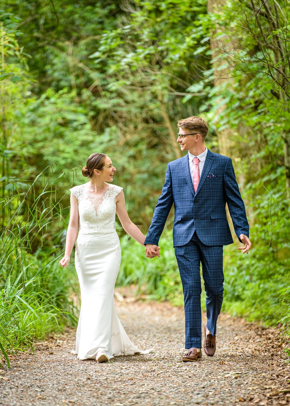 Couple in woods after Lake District elopement wedding
