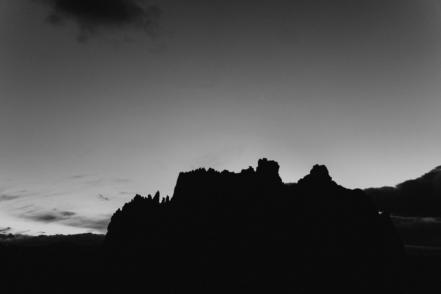 Black and white skyline at Smith Rock State Park in Oregon