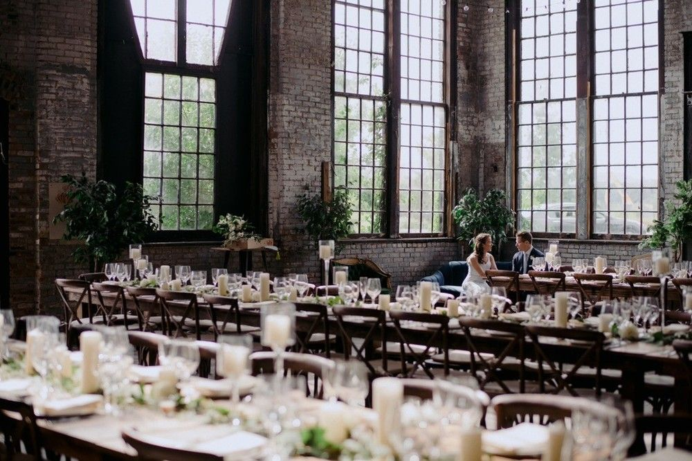 Interior of Basilica Hudson, an industrial wedding venue in Hudson Valley New York