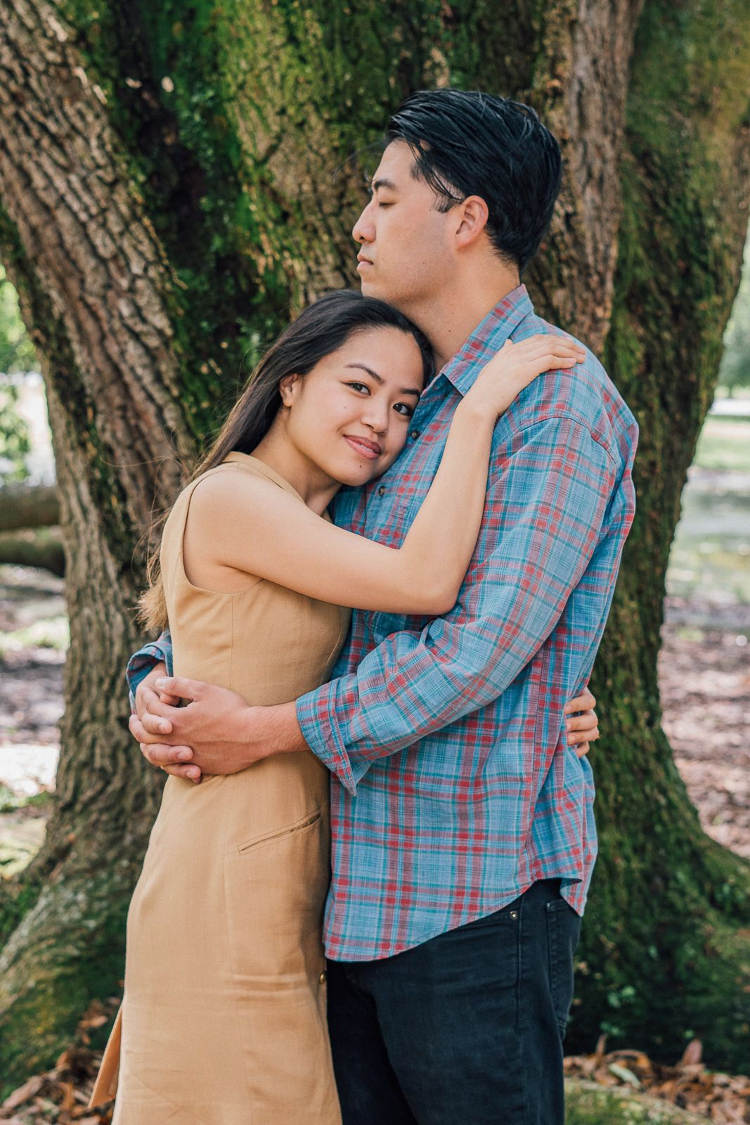 Engagement session with couple in City Park New Orleans