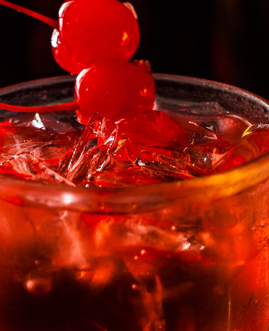cherry drink on menu item at restaurant