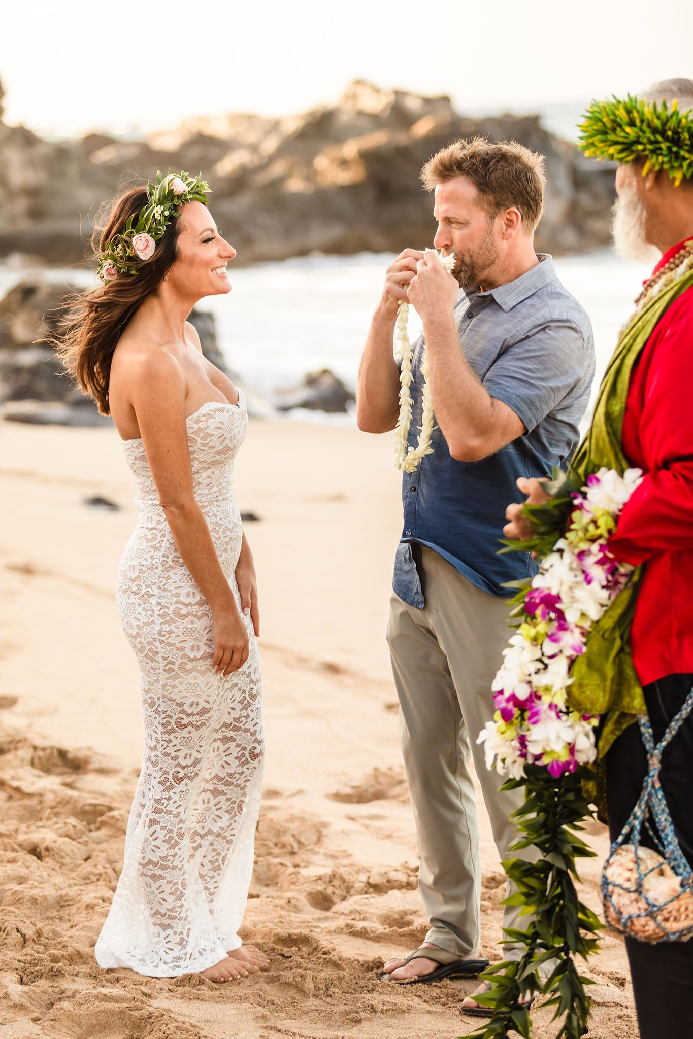maui beach wedding lei exchange