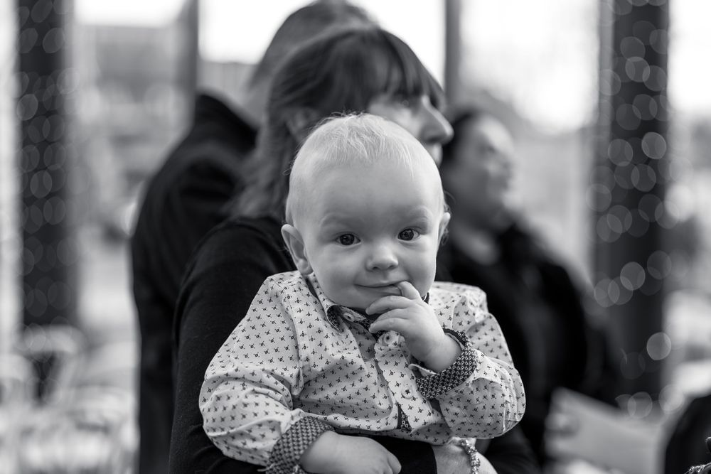 Black and white Candid photography baby naming ceremony at The Siren Liverpool by Photography Liverpool
