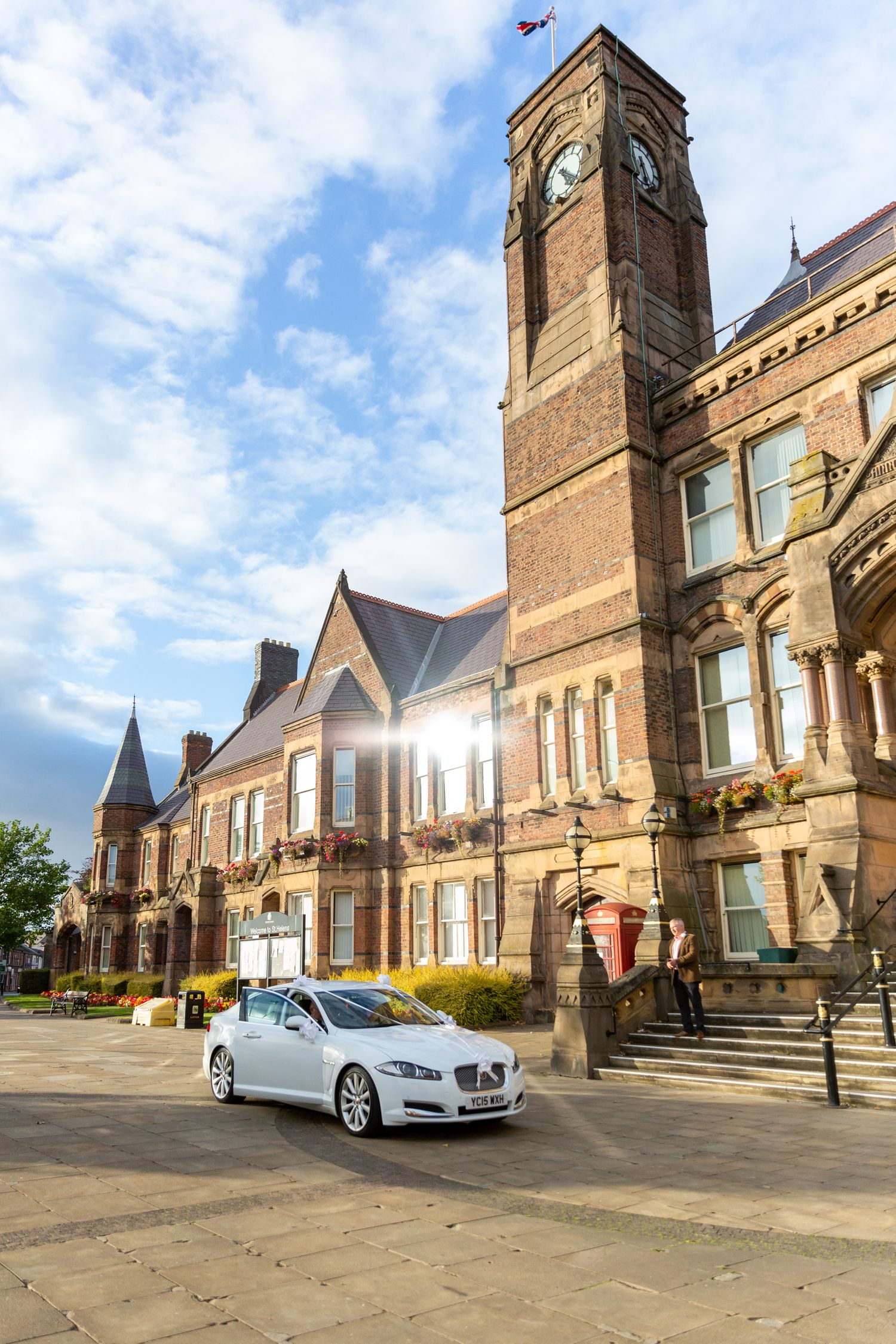 brides wedding car arrives outside st.helens town hall for their covid 19 micro wedding