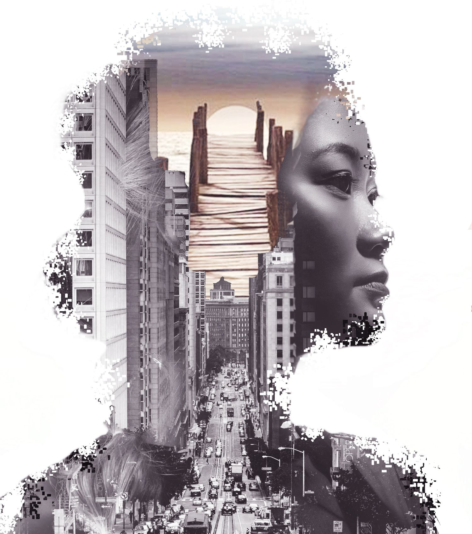 Double exposure of asian woman with buildings and beach scene