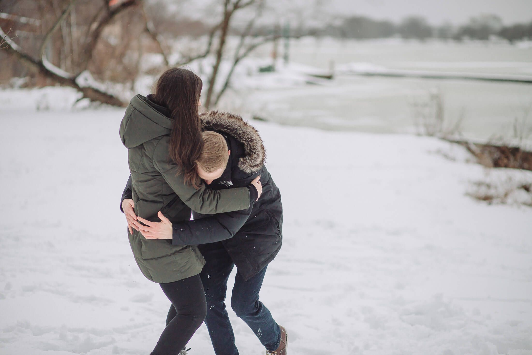 Winter engagement session at Cooper River Park in Cherry Hill, New Jersey.