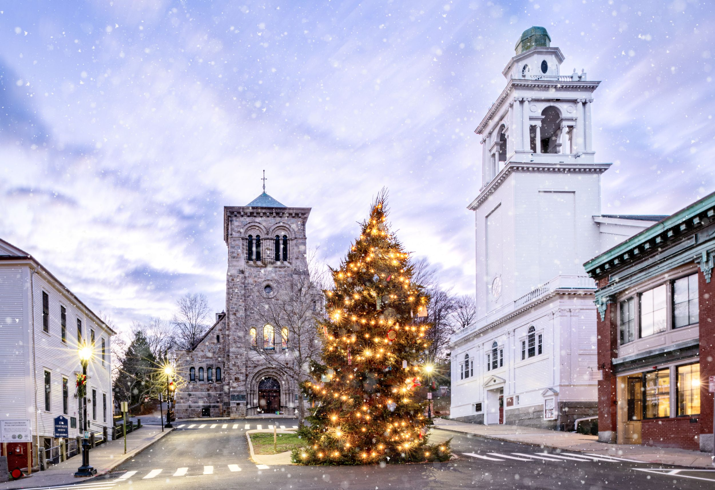 Festive New England holiday Christmas tree in Plymouth Massachusetts