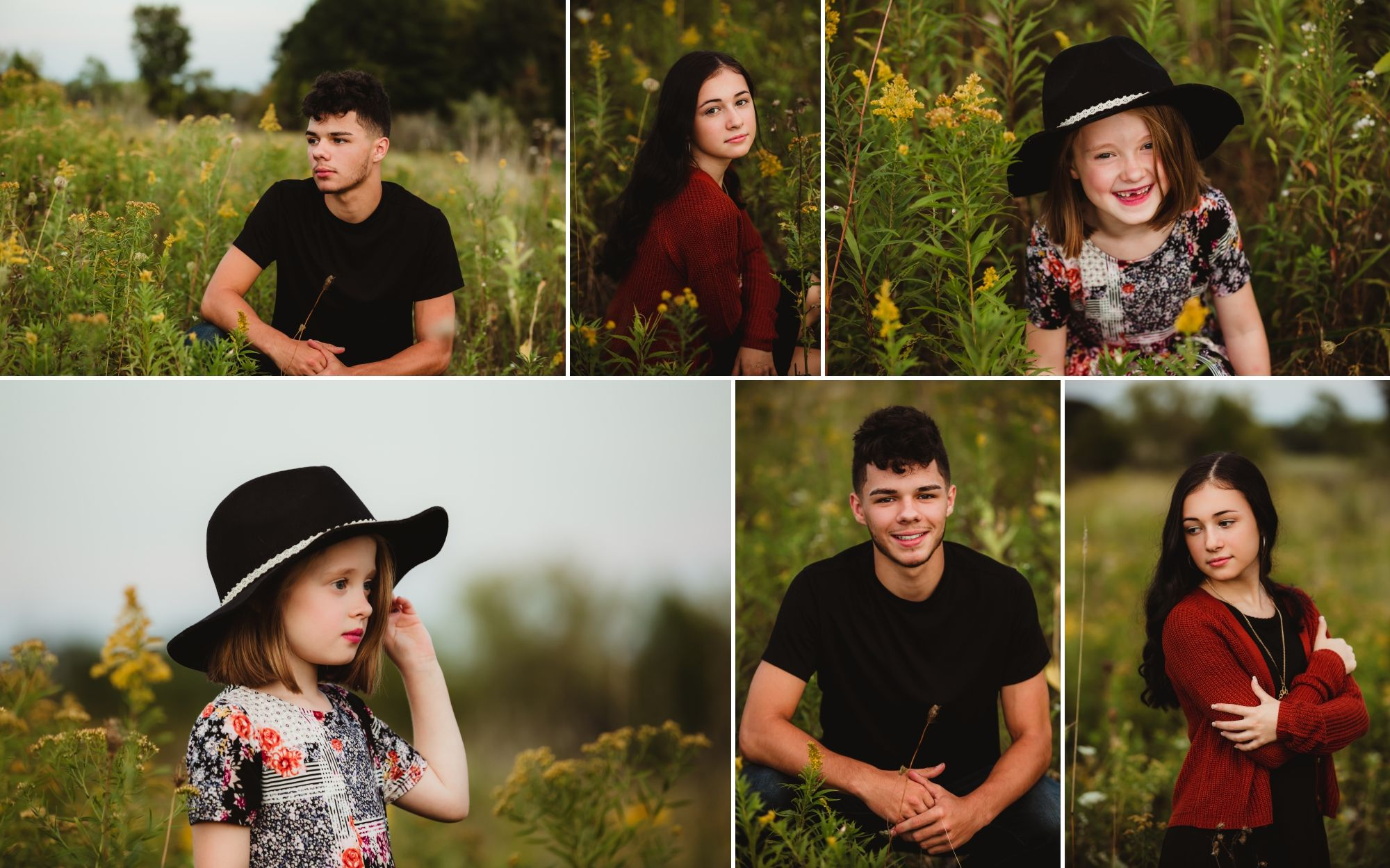 Collage of individual pictures of each child in a field of grass and goldenrod.