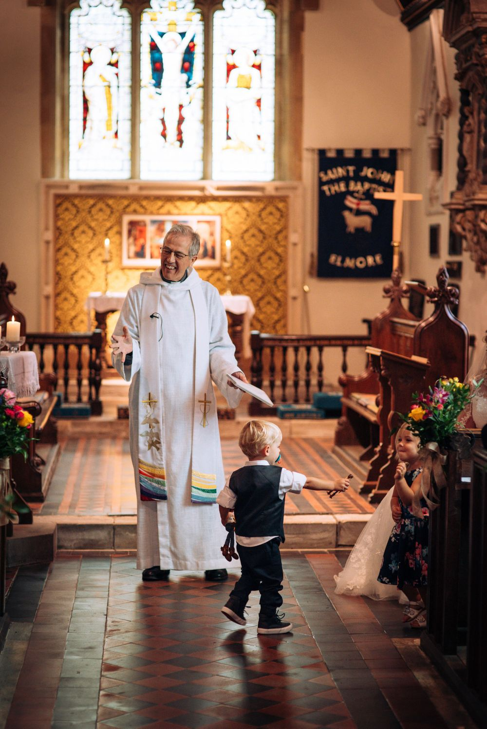 Elmore wedding by Zara Davis Photography, Gloucestershire children in church