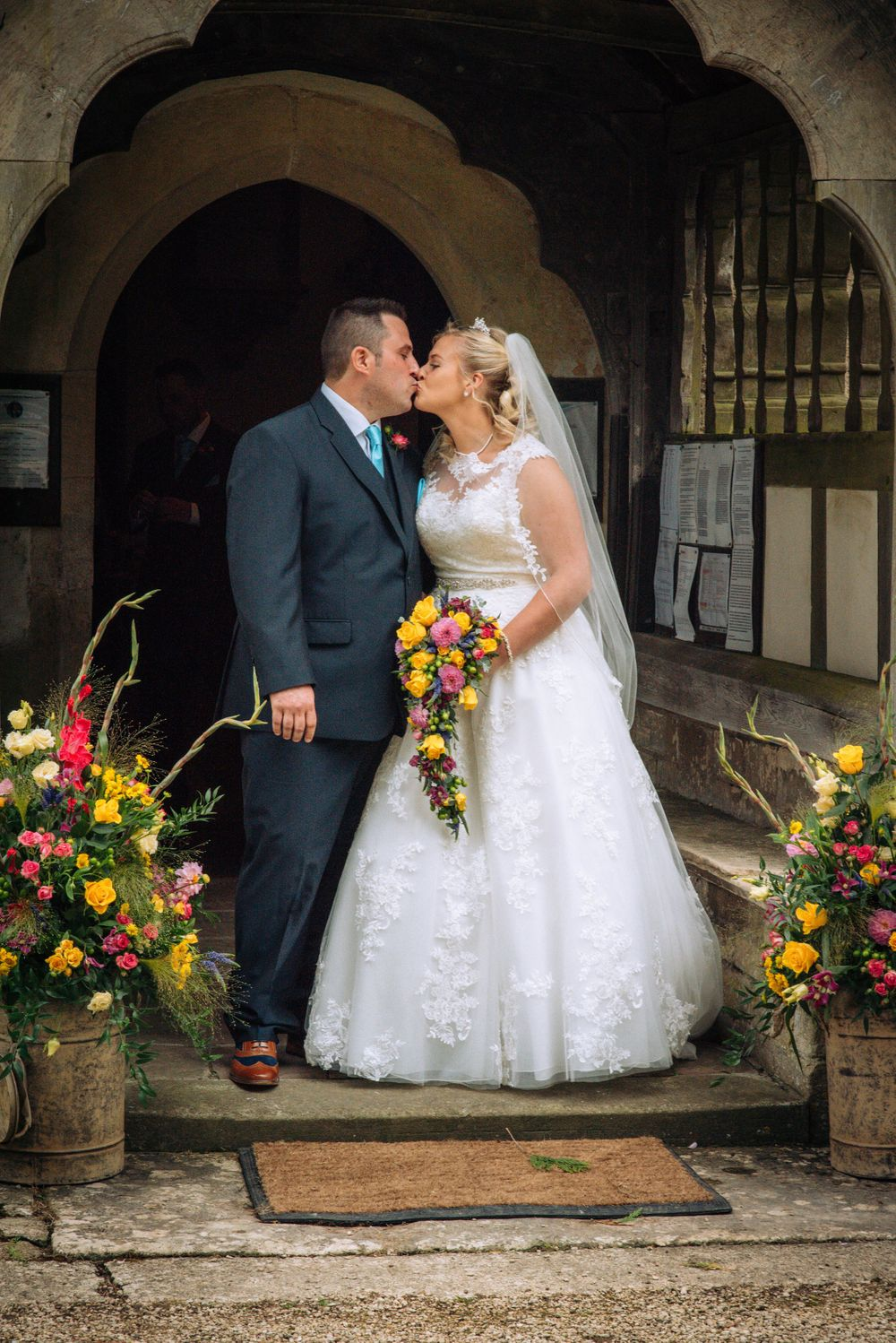 Elmore wedding by Zara Davis Photography, Gloucestershire first kiss