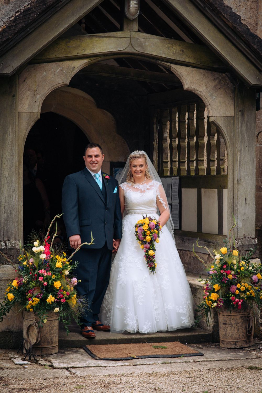 Elmore wedding by Zara Davis Photography, Gloucestershire outside just married