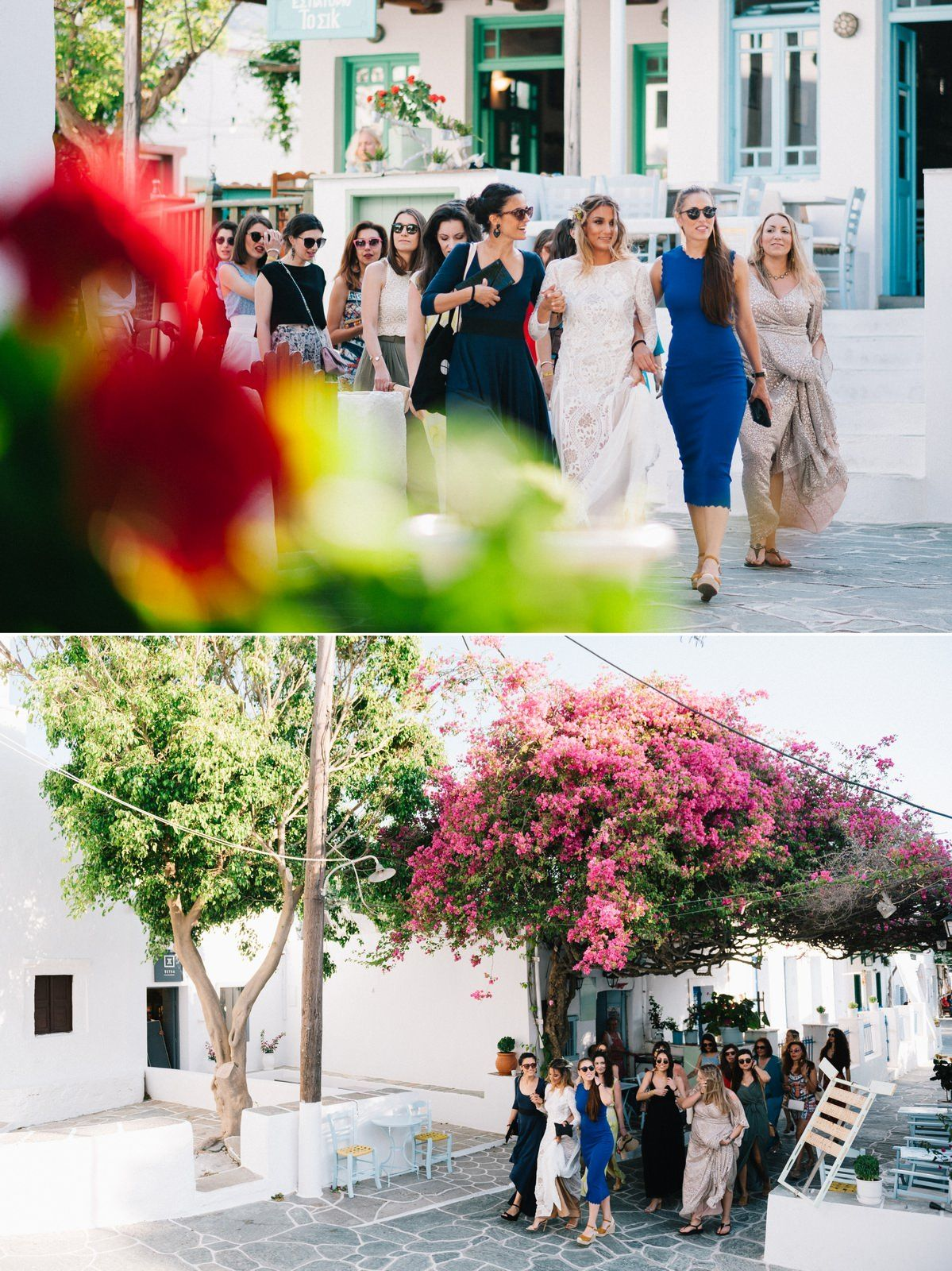 bride and her friends walking in the traditional alleys in folegandros