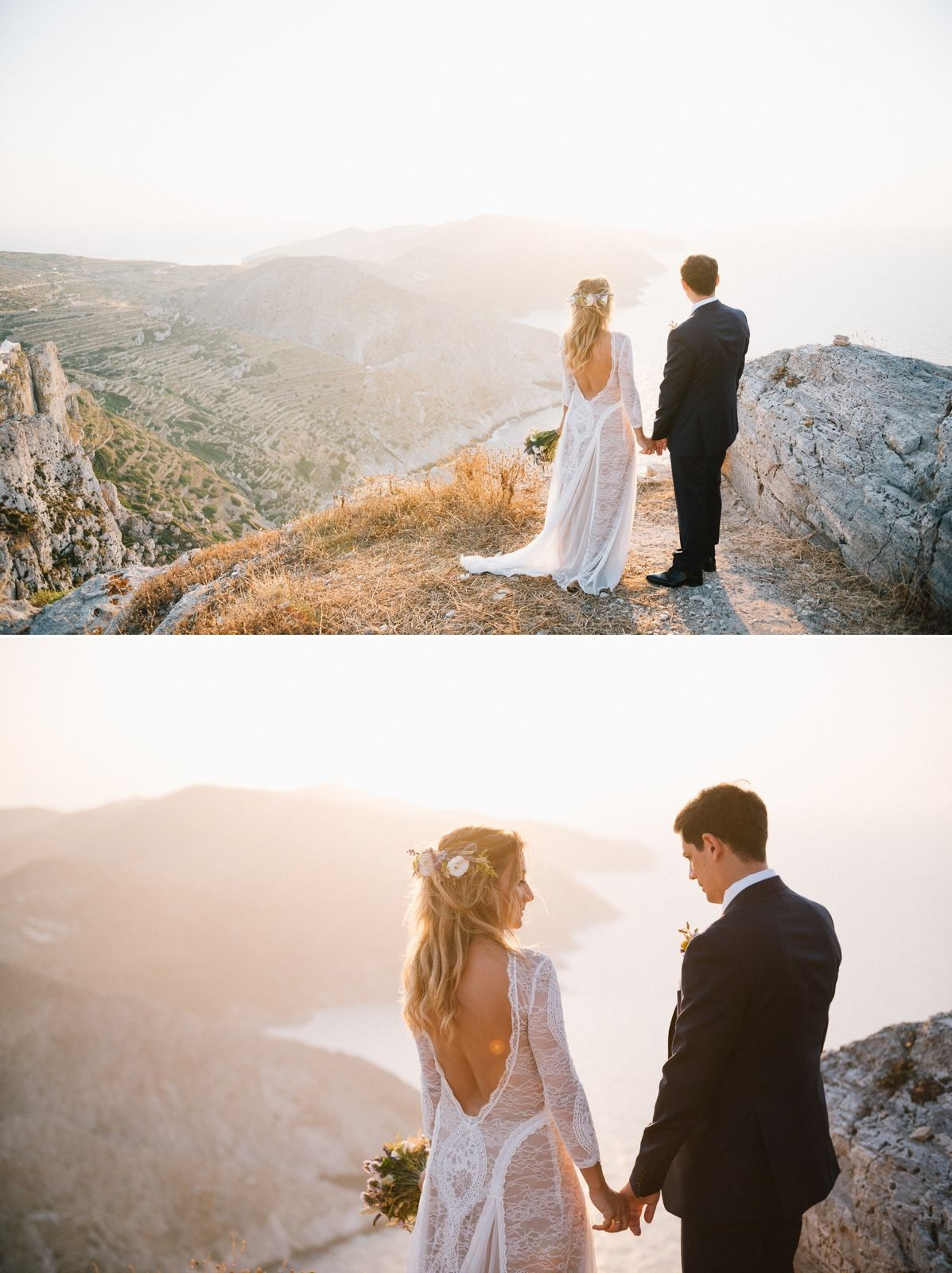 bride and groom portrait at folegandros with amazing view