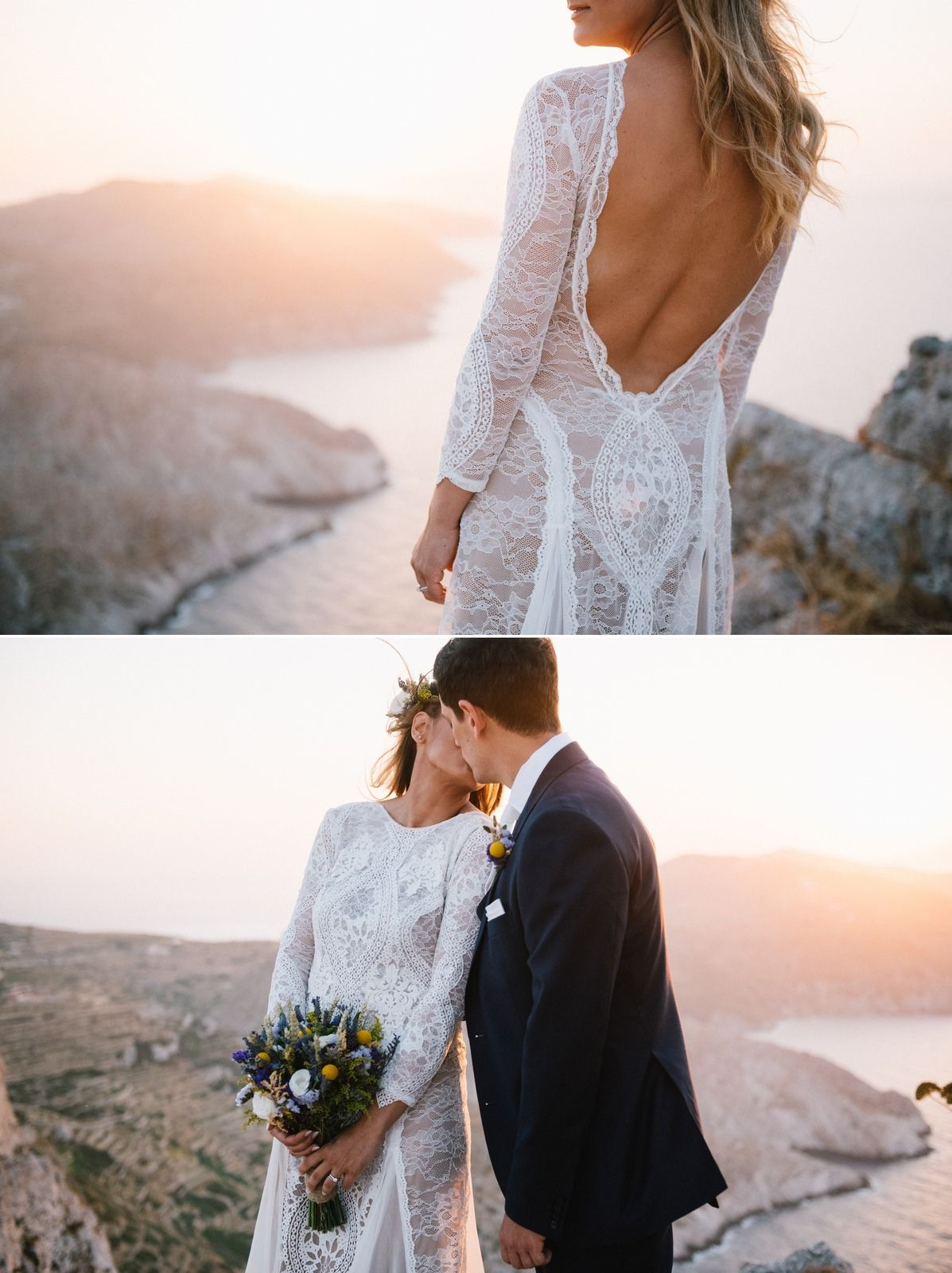 bride and groom portrait at folegandros