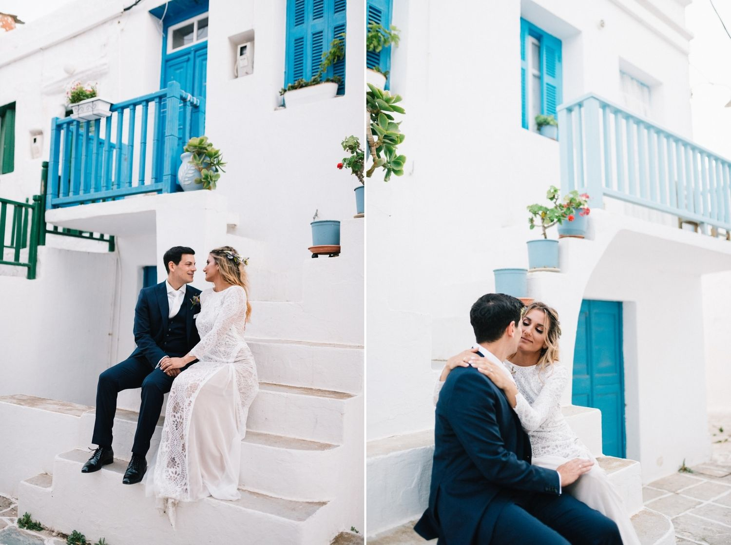 bride and groom portraits at castro folegandros