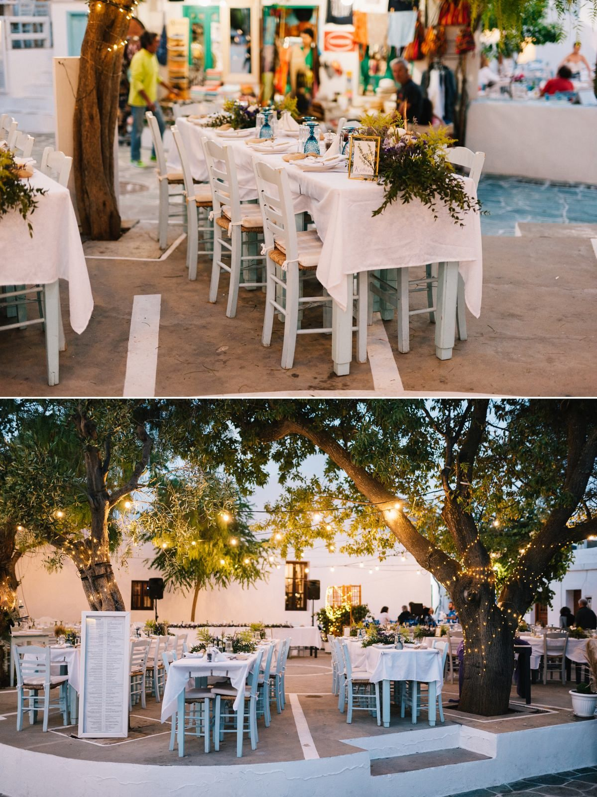 wedding decoration in traditional square at sifnos