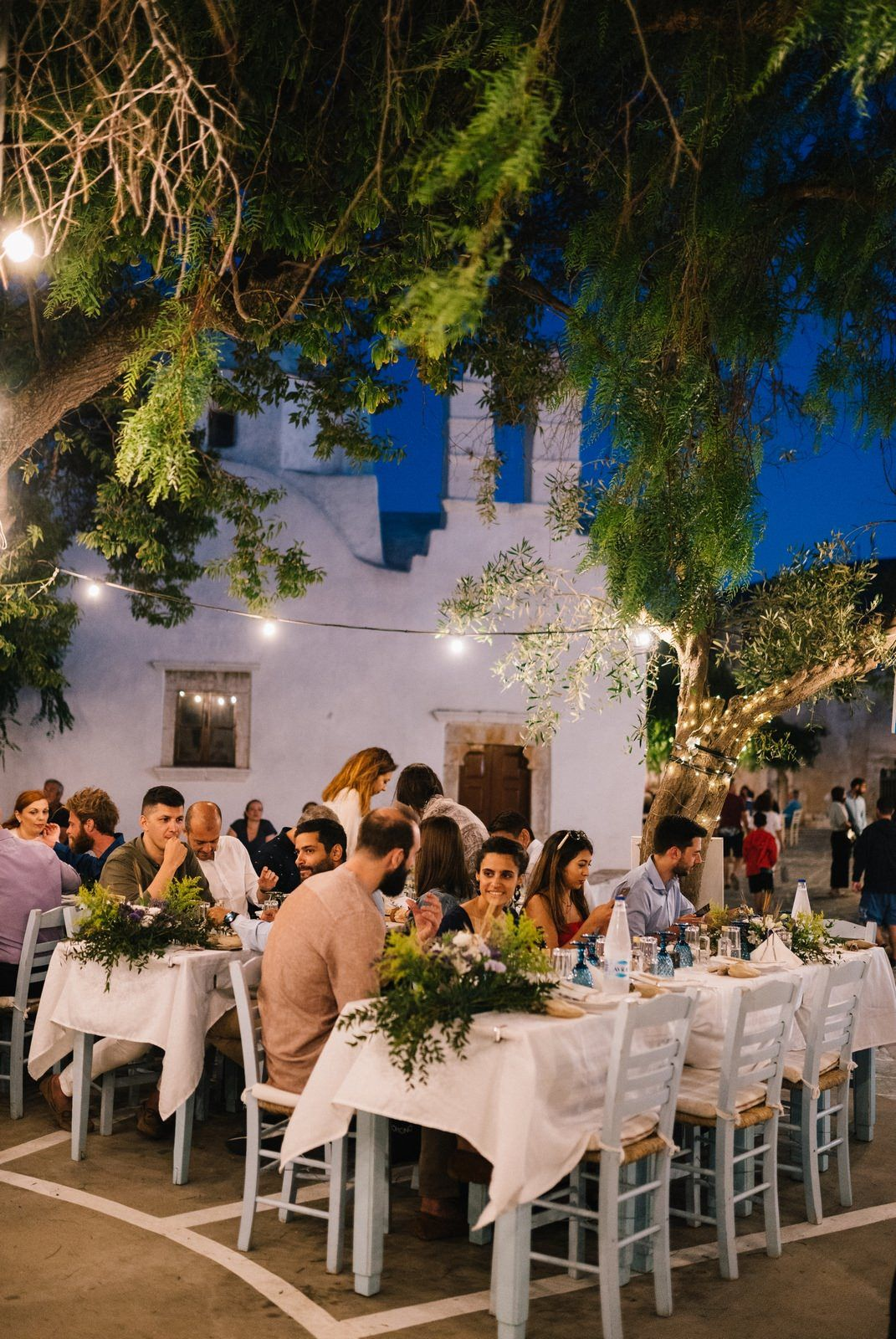 wedding reception in traditional square at sifnos