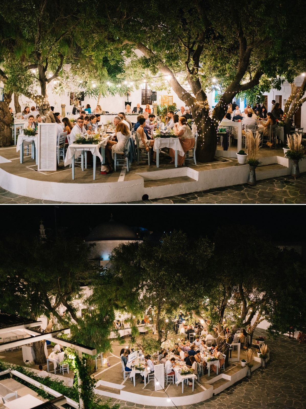 panorama from wedding reception in folegandros