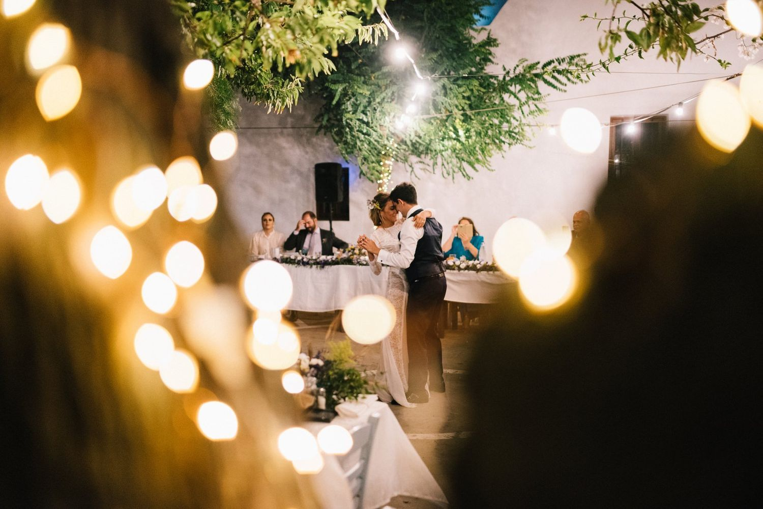 couple first dance in a traditional square at sifnos