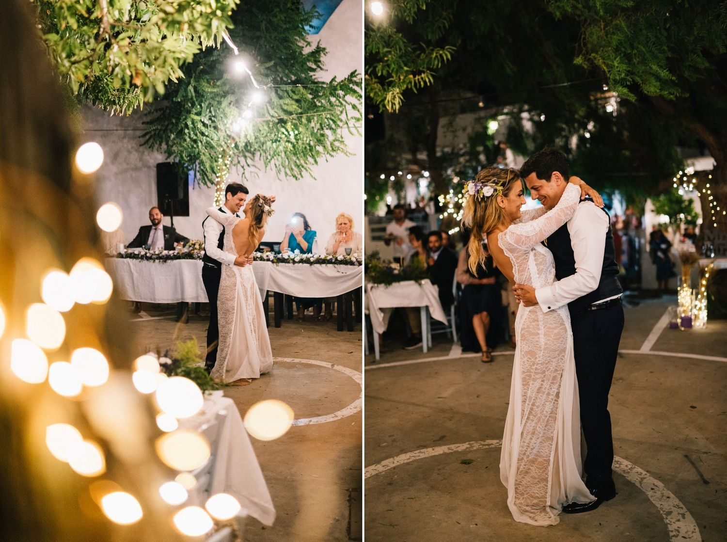 couples first dance in a traditional square at sifnos