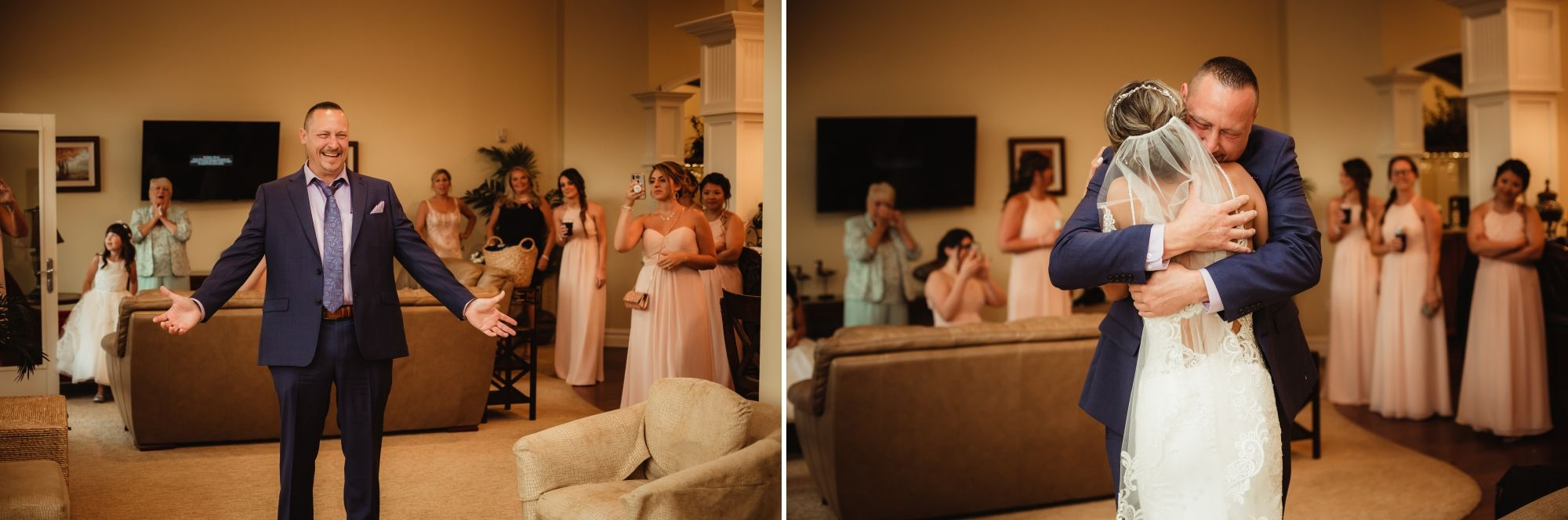 Photos of a dad seeing his daughter as a bride for the first look. He smiles then they hug.
