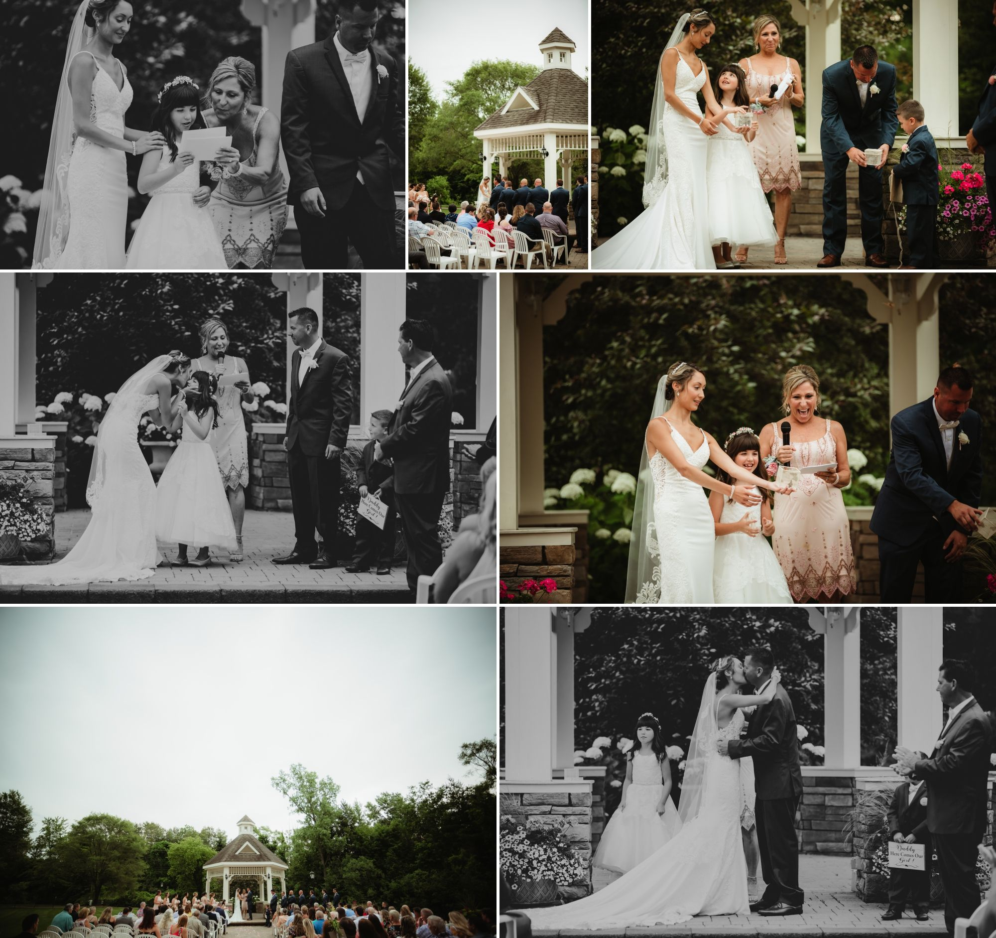 Photo collage of an outdoor wedding ceremony on a patio by a river.