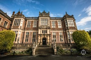 Crewe Hall wedding photographer shot of venue building exterior