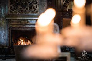 Interior fire detail at Crewe Hall wedding venue