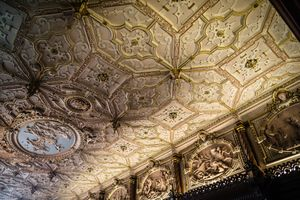 Interior ceiling detail of Crewe Hall wedding venue
