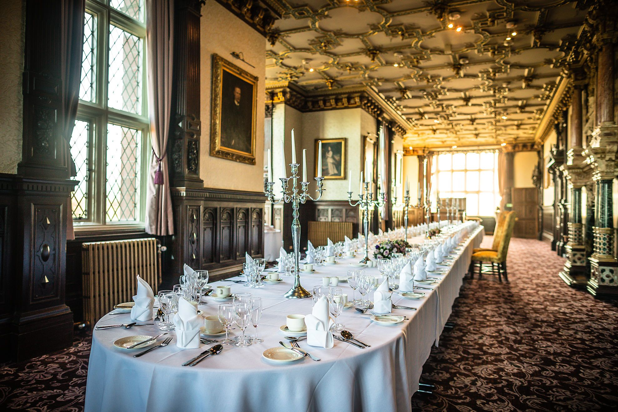 Wedding breakfast room at Crewe Hall wedding venue