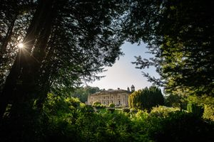 Wortley Hall wedding venue exterior building view through foliage