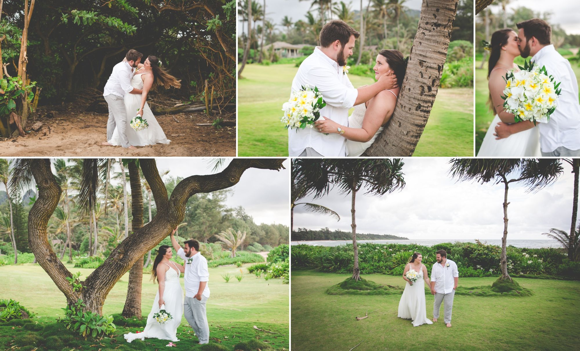 Collage of the bride and groom posing together on an island with a beach, bright green grass, and palm trees.