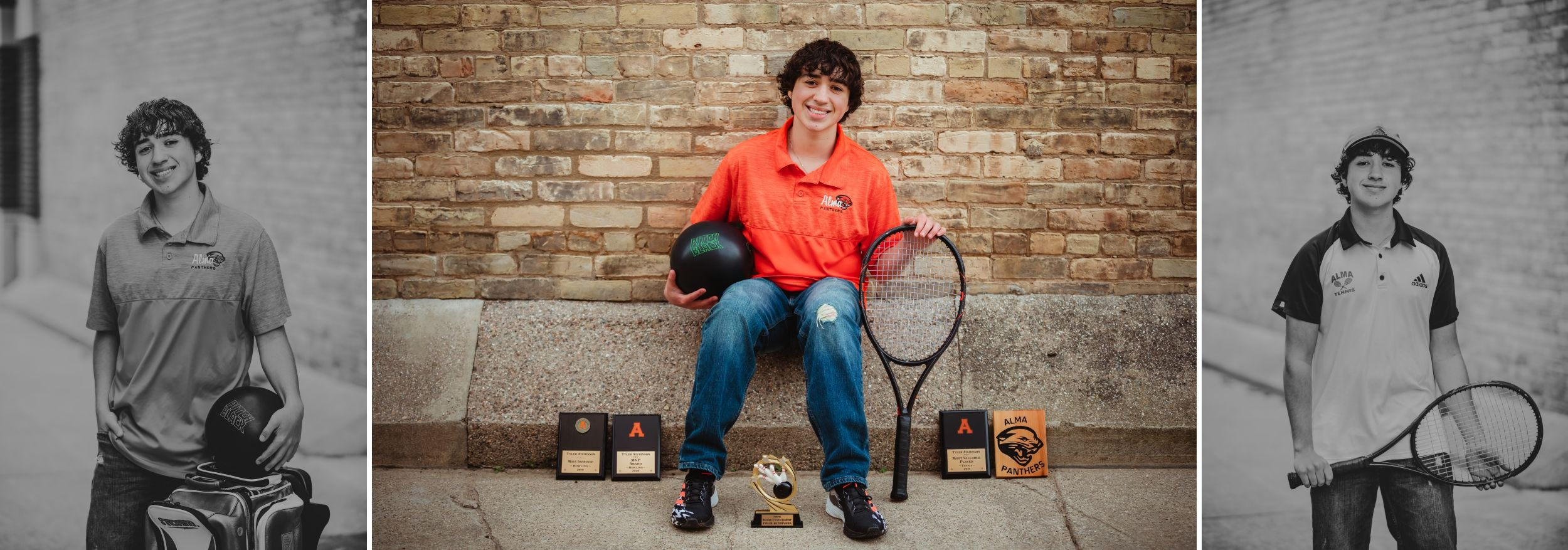 High school senior boy in an alley with his tennis and bowling gear.