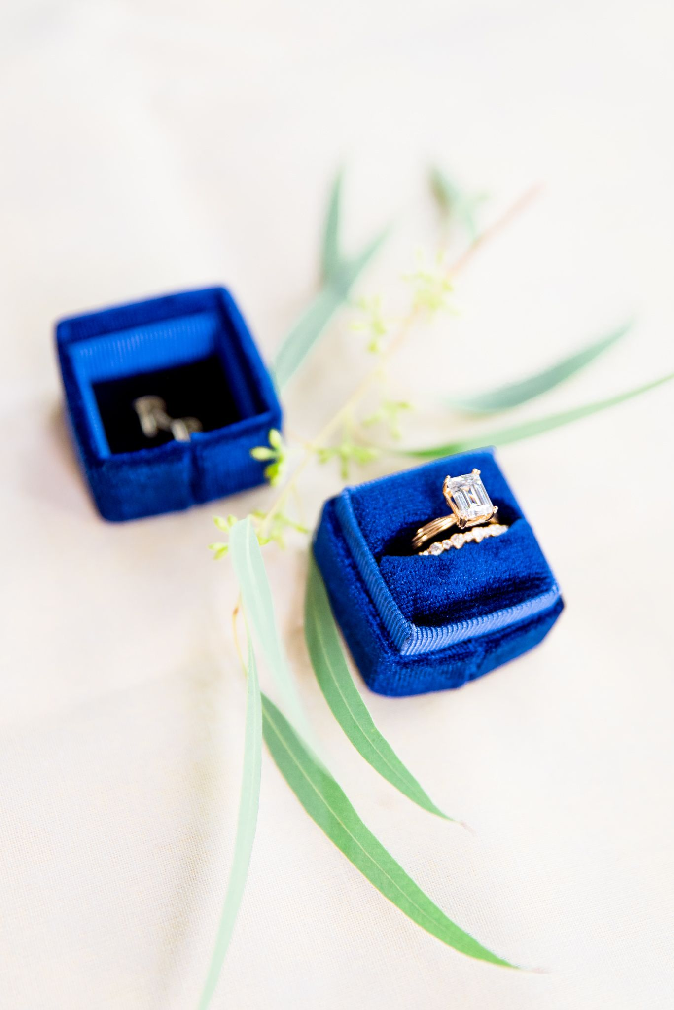 yellow gold emerald cut engagement ring in a blue Richter and Phillips box next to some loose greenery