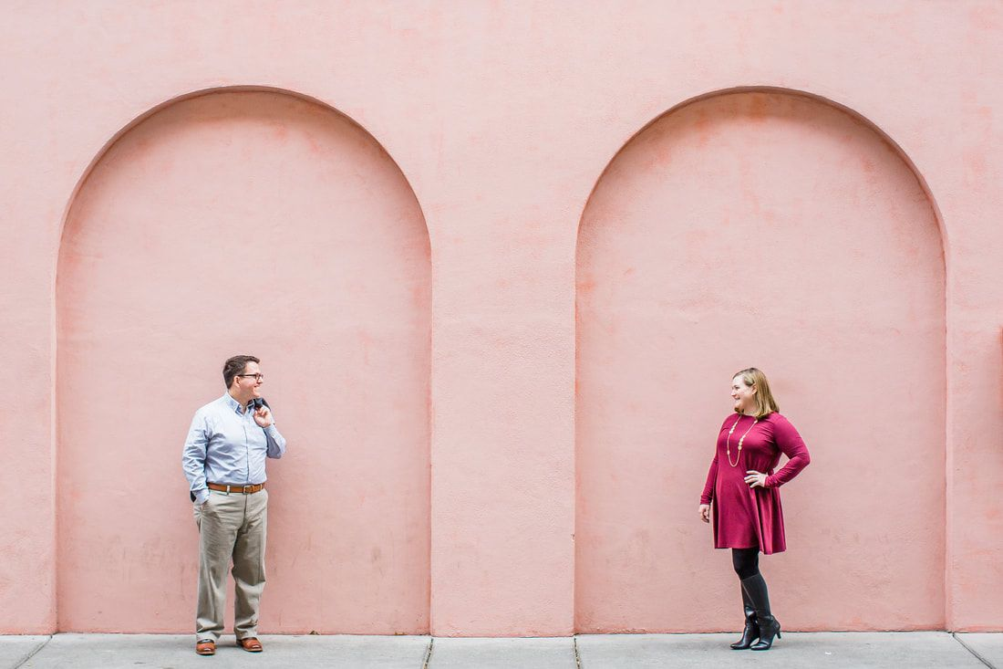 engagement session outside the pink house in savannah, ga