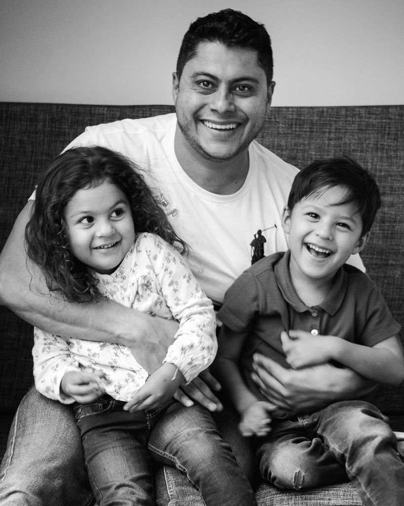 Black and White Image of Father and Young Children