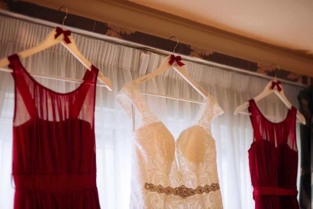 Aztec West Hotel wedding by Zara Davis Photography, Gloucestershire dresses on hangers