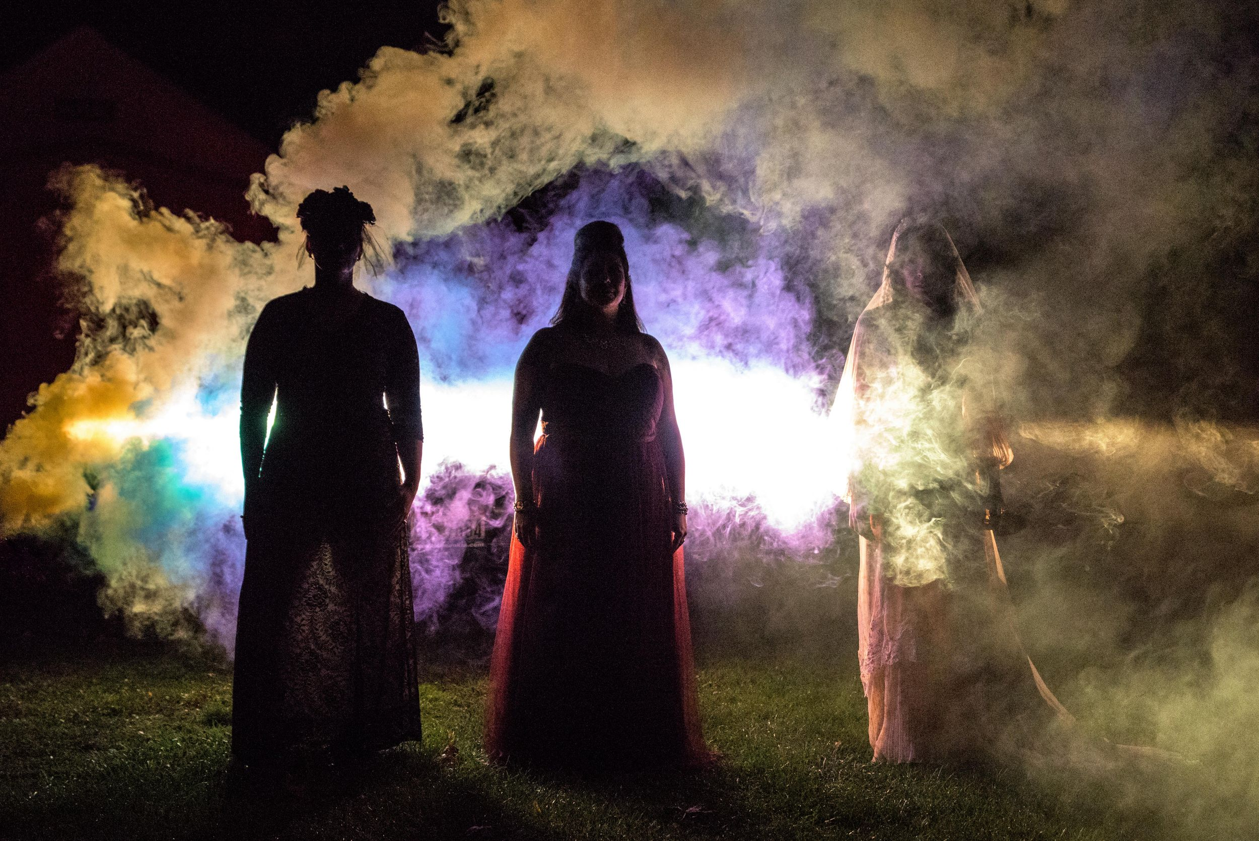 halloween smokebomb photoshoot at Frostville Museum Church