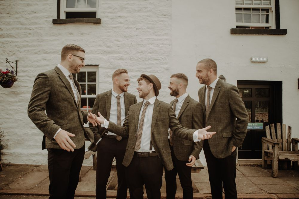 Groom and groomsmen at cumbria wedding