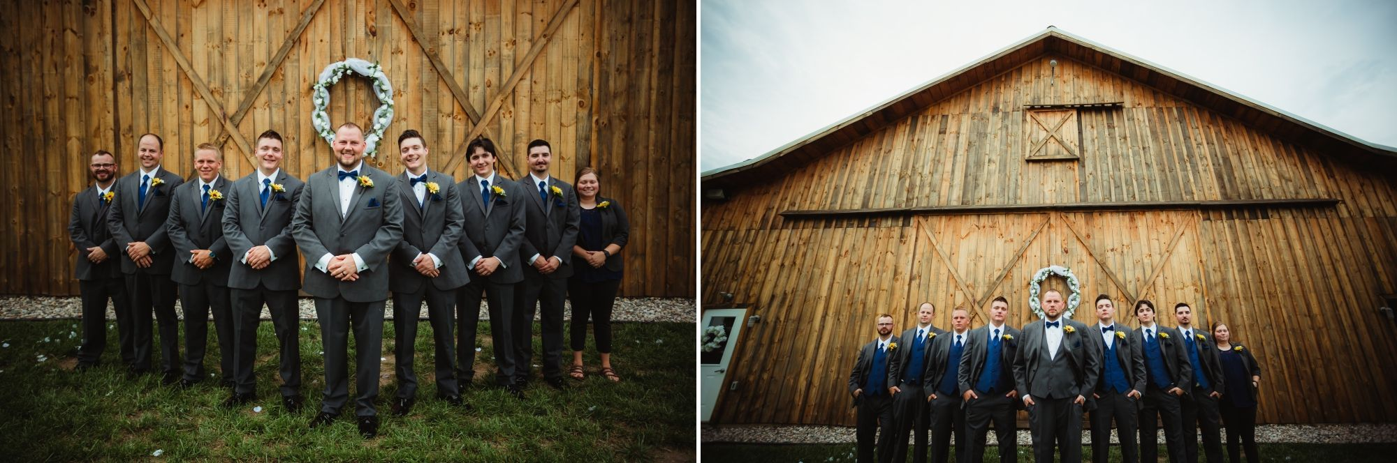 Groom, groomsmen, and woman lined up in front of the barn in a V shape.