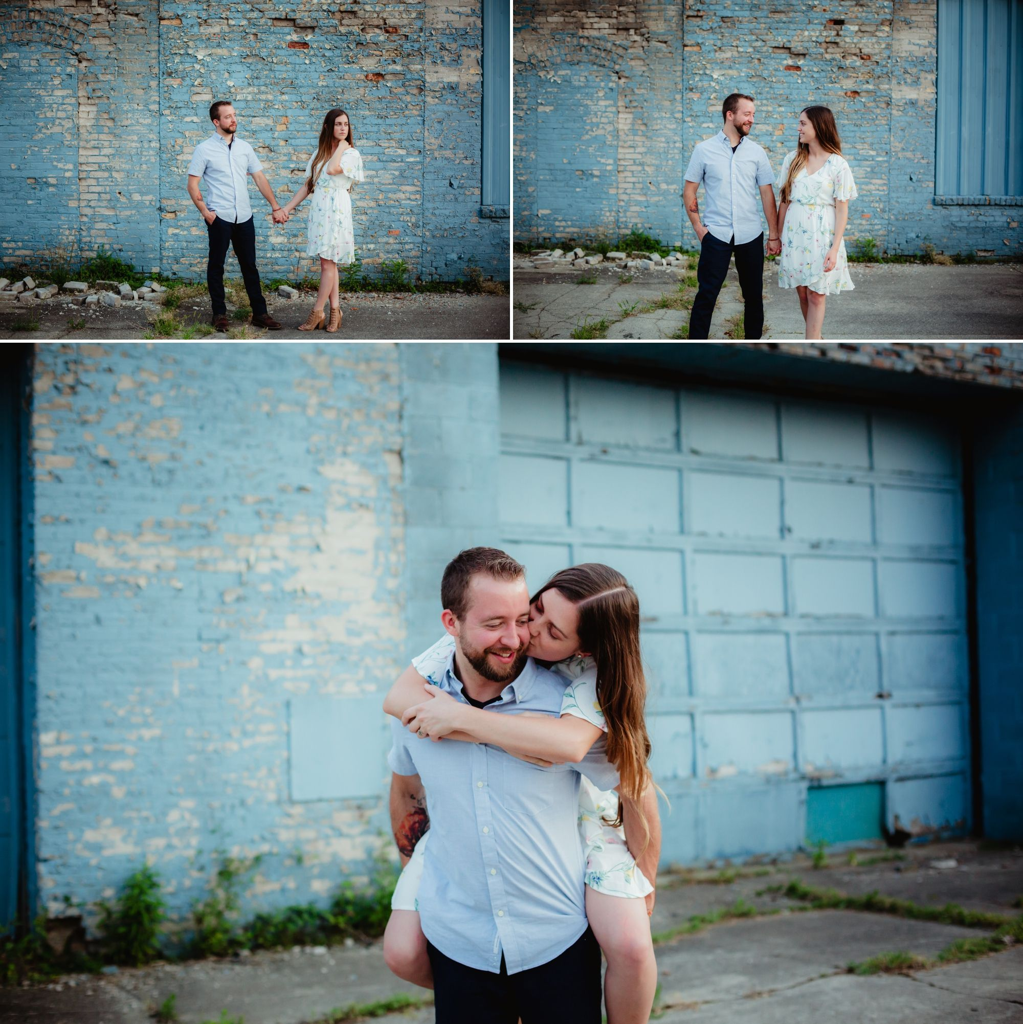 Couple holding hands in front of a blue brick building. Then woman on a man's back kissing his cheek.