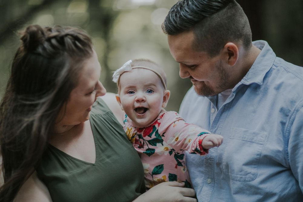 rebecca skidgel photography armstrong redwoods engagement family happy smiling baby