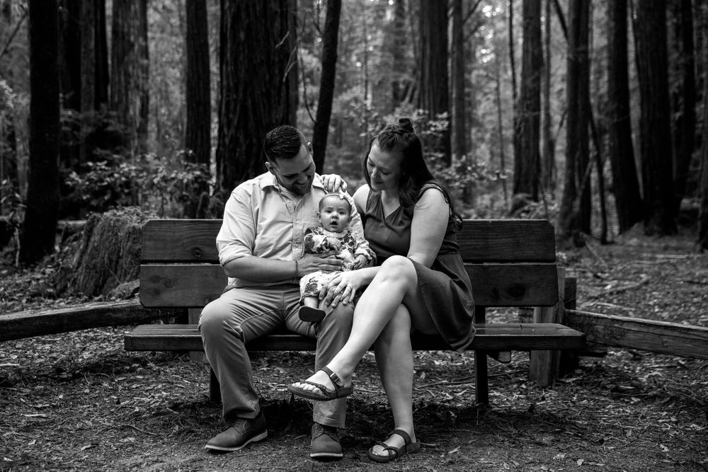 rebecca skidgel photography armstrong redwoods engagement family baby and smiling parents love happy