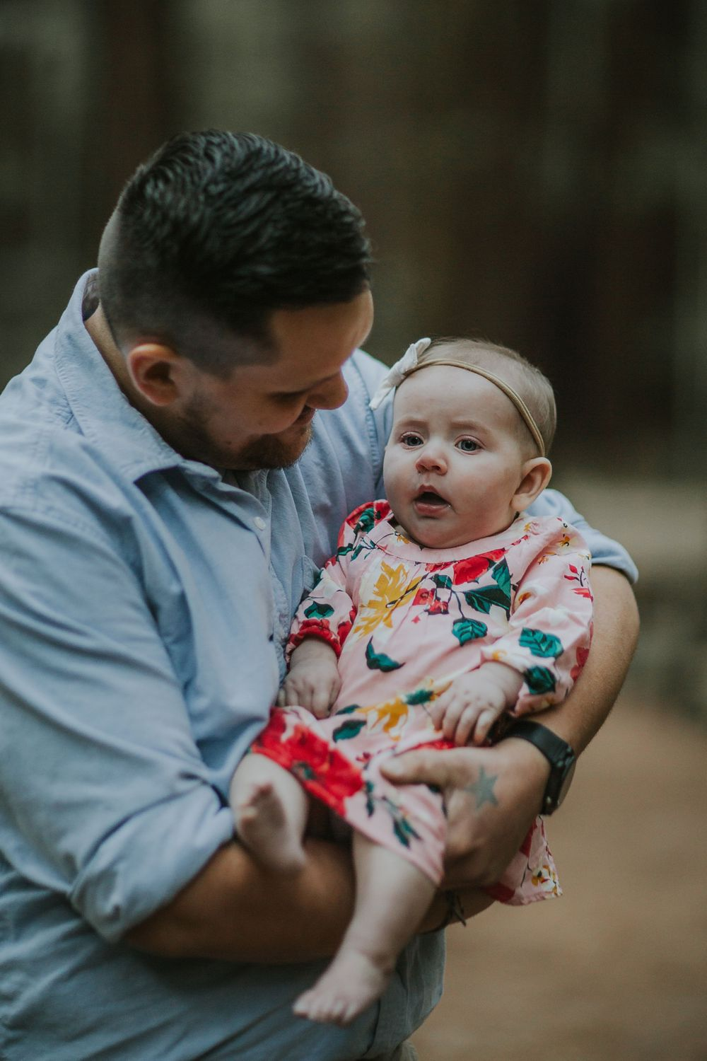 rebecca skidgel photography armstrong redwoods engagement family baby and smiling parents love happy dad