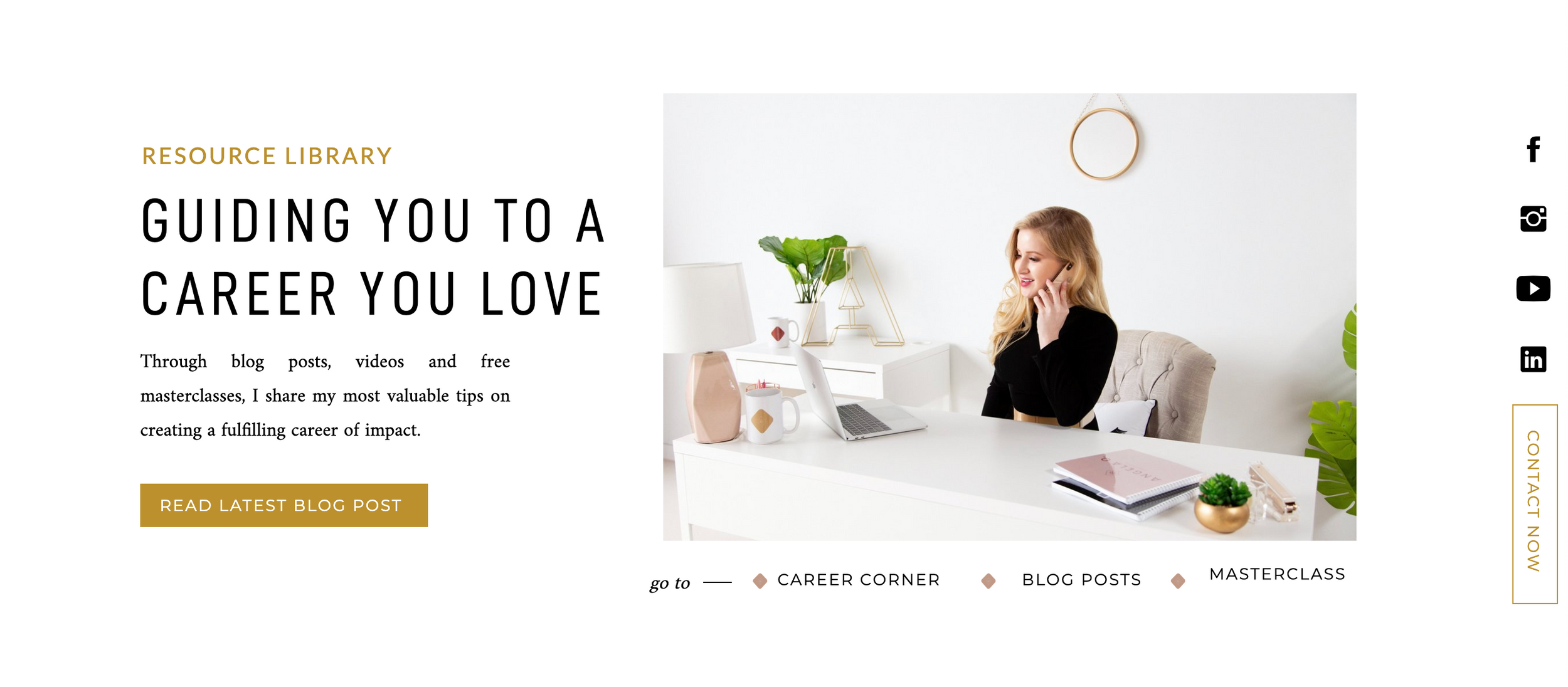 Website section example featuring personal branding photography