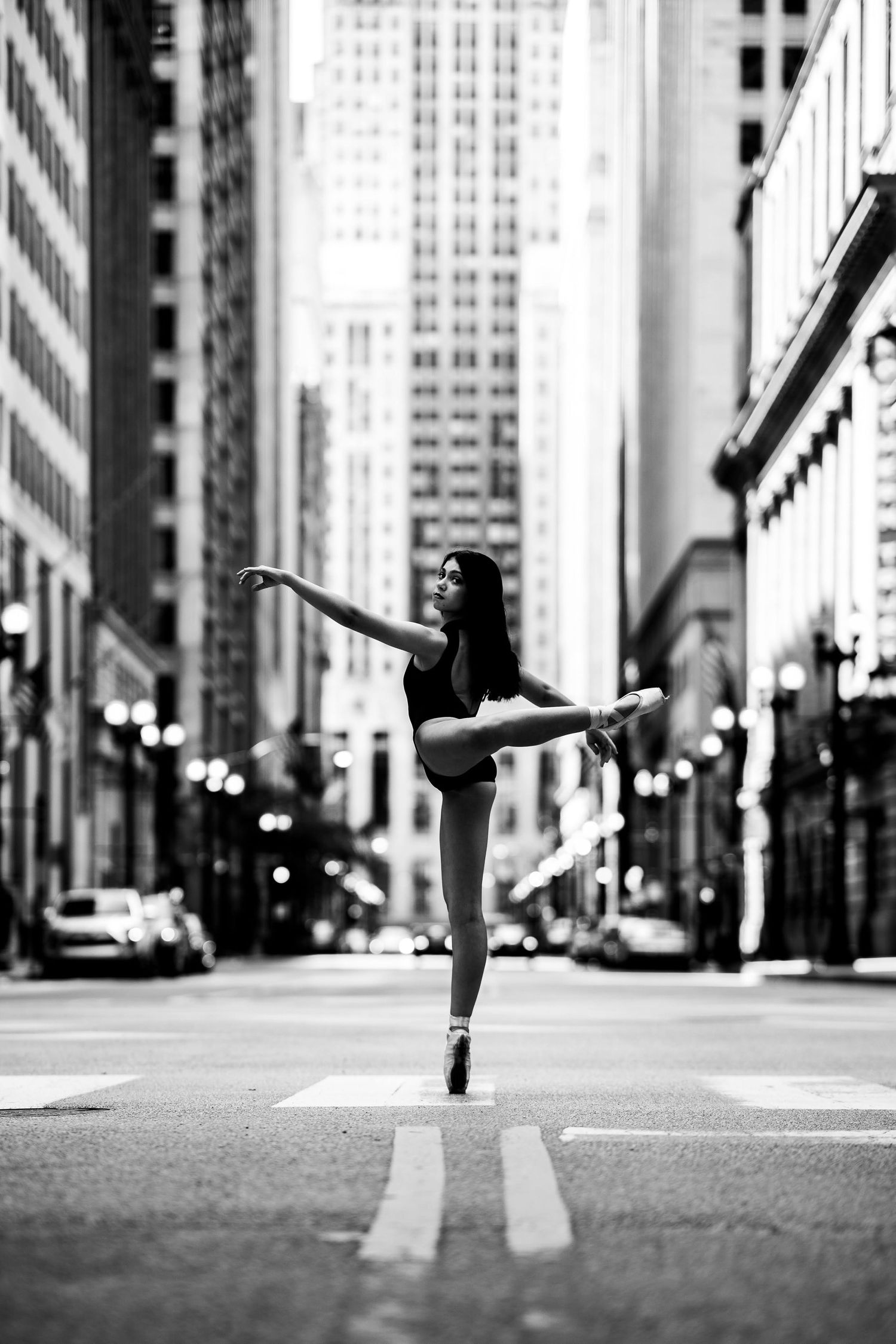 chicago dance photography on the street black and white